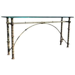 1970s Brutalist Iron and Glass Console Table For Sale