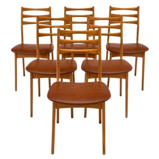 Mid-Century French Cherrywood Dining Chairs - Set of 6 For Sale