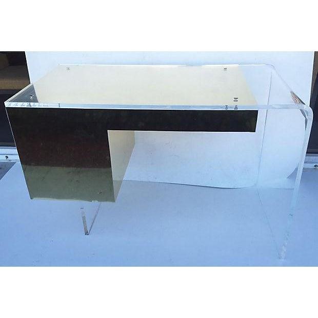 Vintage 1970s Lucite & Brass Desk - Image 6 of 10