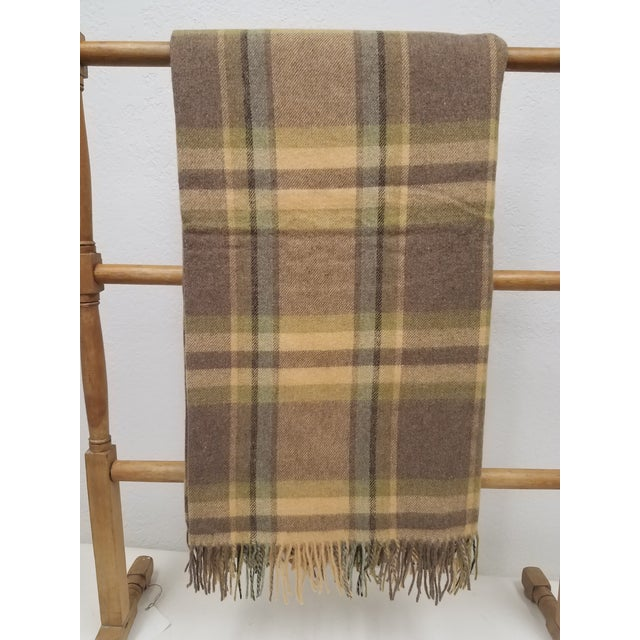 Merino Wool Throw Soft Light Beige Green Blue Purple Plaid - Made in England For Sale - Image 9 of 9