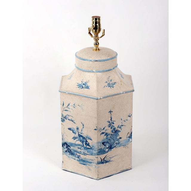Vintage Hand-Painted British Export Tea Caddy Table Lamp For Sale - Image 4 of 10