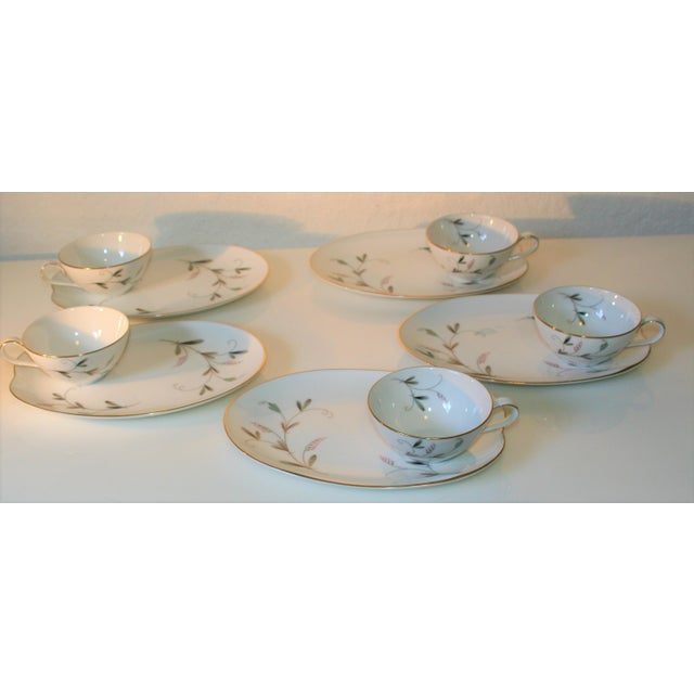 Mid 20th Century Vintage Noritake China Oval Snack Plates With Cups - 10 Pc. Set For Sale - Image 5 of 9