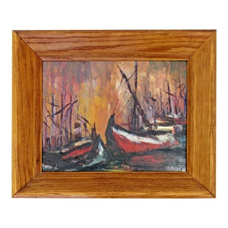 Mid Century Modern Framed Oil on Board Painting Signed by Emilan Glocar 1970s For Sale