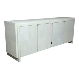 Spectacular Genuine Shagreen Sideboard in Pale Water Grey For Sale