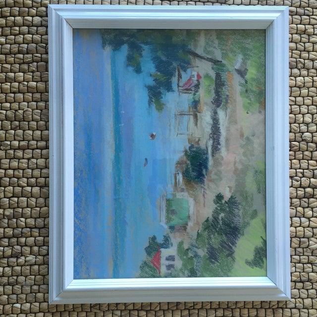Original Oil Pastel Caribbean Coastal Seascape Framed Art For Sale - Image 9 of 11