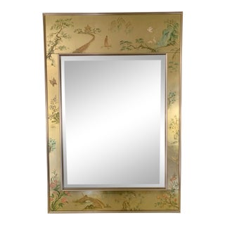 LeBarge Hand Painted Eglomise Gold Leaf Mirror For Sale