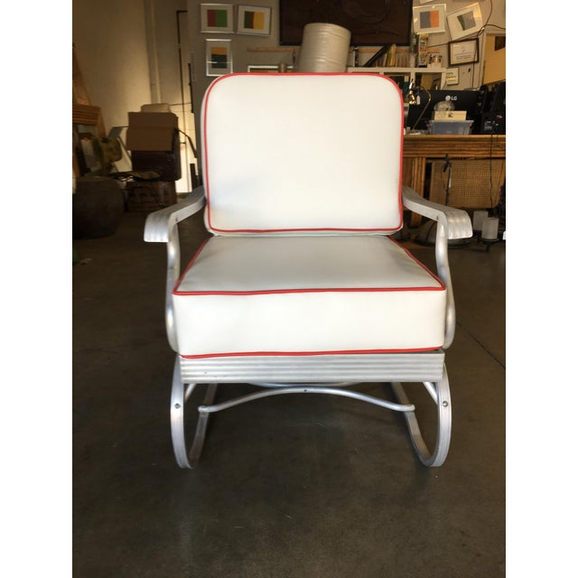 Industrial Mid-Century Aluminum Springer Rocking Chair For Sale - Image 3 of 7