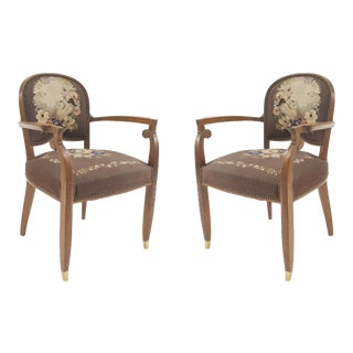 1940s French Art Deco Arm Chair-a Pair For Sale