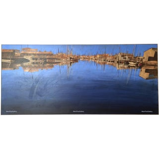 "Listed California Artist William A. Motta 'Newport Bay, California' Acrylic Painting - Huge 80"" L X 36"" H"