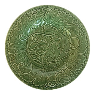 Vintage Bordallo Pinheiro Green Ceramic Serving Plate For Sale