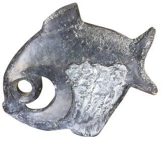 Modernist Klara Sever for Austin Productions Black Abstract Fish Sculpture For Sale