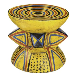 Hand-Painted African Stool