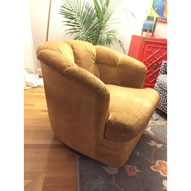 Mid-Century Modern Mid-Century Baughman Style Plinth Base Swivel Chair For Sale - Image 3 of 10