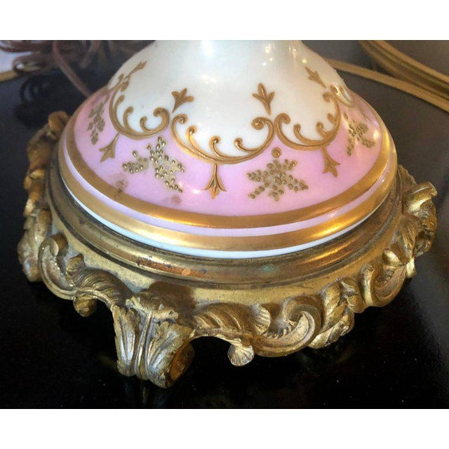 Bronze Mounted French Porcelain Serves Urns Converted into Table Lamps - a Pair For Sale - Image 4 of 12