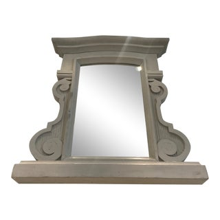 1950's Hollywood Regency Grey Cerused Solid Wood Mirror by Grange, France For Sale