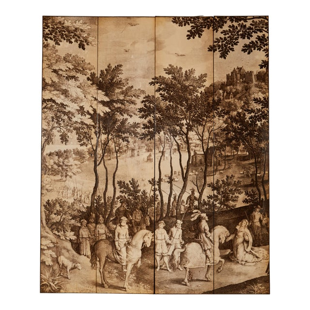 Four-Panel Screen in the Manner of Fornasetti For Sale