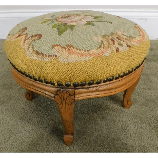 High Quality Antique Carved Solid Wood Stool with Needlepoint Seat
