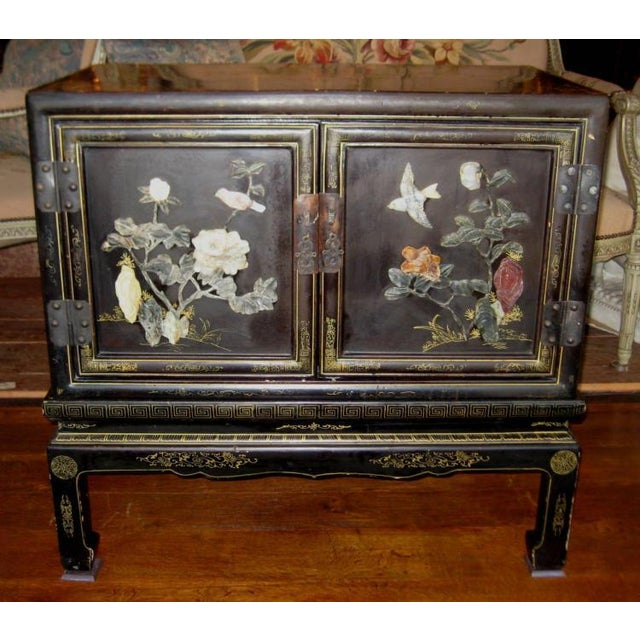 Chinese Black Lacquer Hard Stone Cabinet - Image 2 of 5