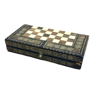 1930's Morocco Hand Made Folding Wood Marquetry Game Board For Sale