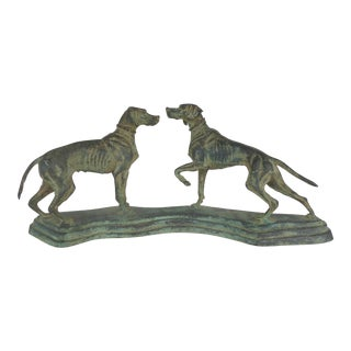 Vintage Bronze Sculpture of Two Hunting Dogs For Sale