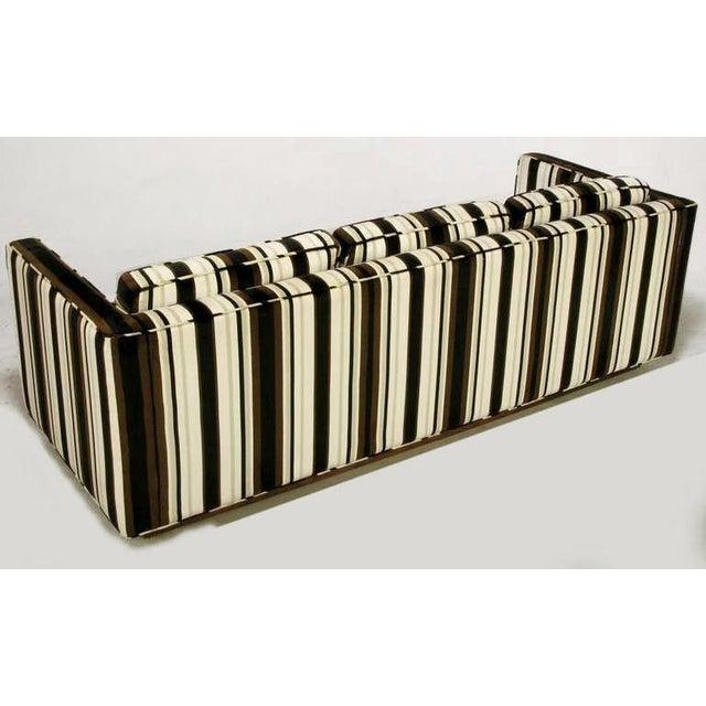 1970s Marden Even-Arm Striped Velvet Tuxedo Sofa For Sale - Image 5 of 8