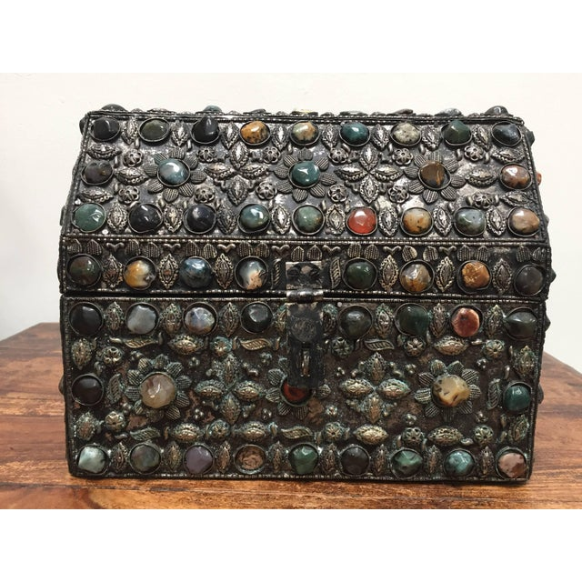 Silver Large Moroccan Wedding Silvered Jewelry Box Inlaid With Semi-Precious Stones For Sale - Image 8 of 13