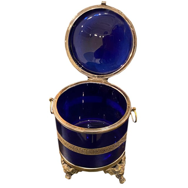 Antique Royal Blue Glass Trinket Box For Sale In Dallas - Image 6 of 11