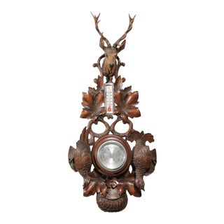 Black Forest Barometer from the Alps. Hand Carved Fowl and Deer with Antlers For Sale