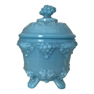 Vintage Portieux Vallerysthal Blue Glass Trinket Box For Sale
