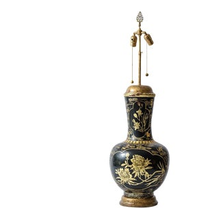 Antique Chinoiserie Papier Mache Lacquered Urn Lamp With Gold Floral Motif For Sale