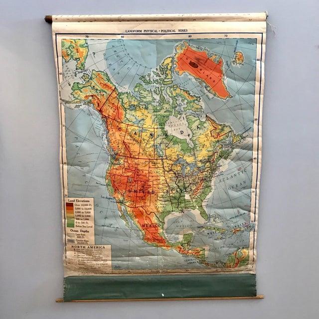 1953 North America Pull Down Map | Chairish