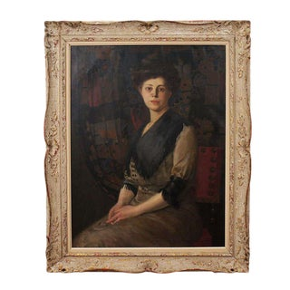 Oil on Canvas Portrait of a Lady by Rudolf Carl Mueller, circa 1905 For Sale