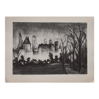 1930s Central Park at Night Lithograph by Adolf Dehn