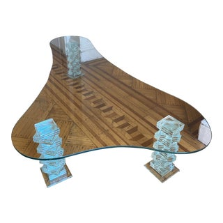 1980s Scalloped Glass Coffee Table For Sale