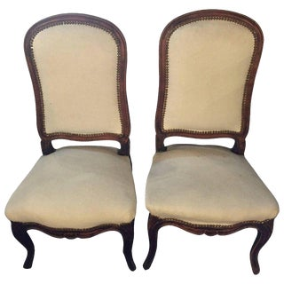 Pair of Louis XV Style Maison Jansen Attributed Boudoir/Slipper or Side Chairs For Sale