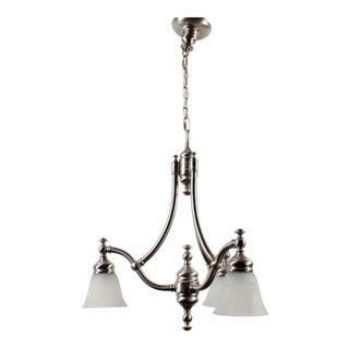 Pasquale Miranda Industries Brushed Metal 3-Lamp Chandelier For Sale