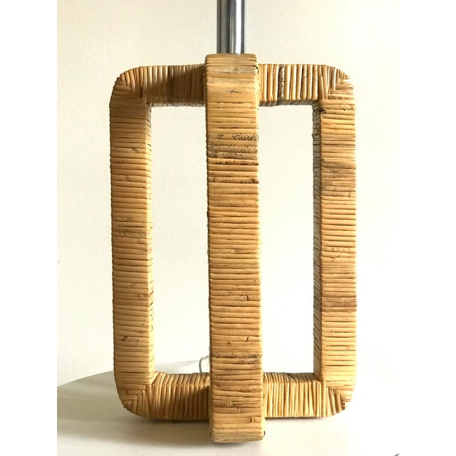 Metal 1970s Vintage Rattan Wrapped Table Lamp For Sale - Image 7 of 13