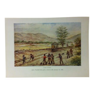 "Americana Color Print on Paper, ""James Marshall Finds Gold at Sutter's Mill - January 24, 1848"" by w.h. Jackson, Circa 1940 For Sale"