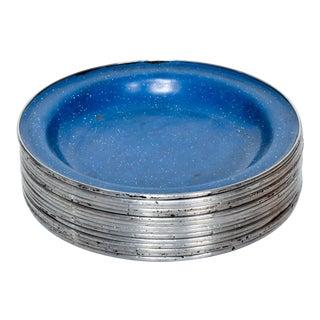 Mid-Century Modern Blue Enamel Dining Plates - Set of 15 For Sale