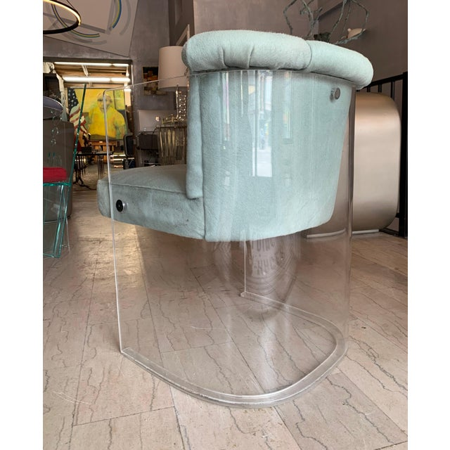 Leather Set of 4 Barrel Chairs in Lucite and Pony Hair Leather For Sale - Image 7 of 12