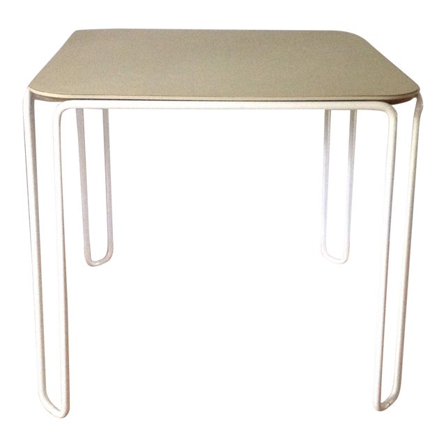 Vintage Mid-Century Card Dinette Table Powder-Coat Hairpin Legs Off White Formica Top For Sale