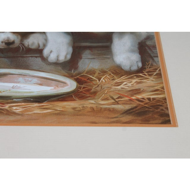 Early 20th Century Puppies in the Hay Framed, 19th Century Print For Sale - Image 5 of 8