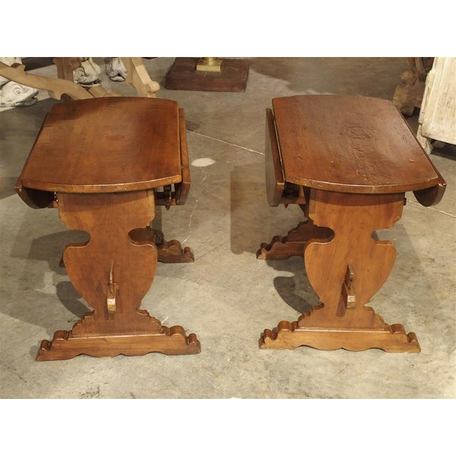 Pair of Antique Walnut Drop Leaf Side Tables From Italy, Circa 1900 For Sale - Image 4 of 12