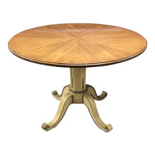 Henredon French Regency Walnut Parquet Veneer Round Pedestal Dining Table | Vintage Game Table