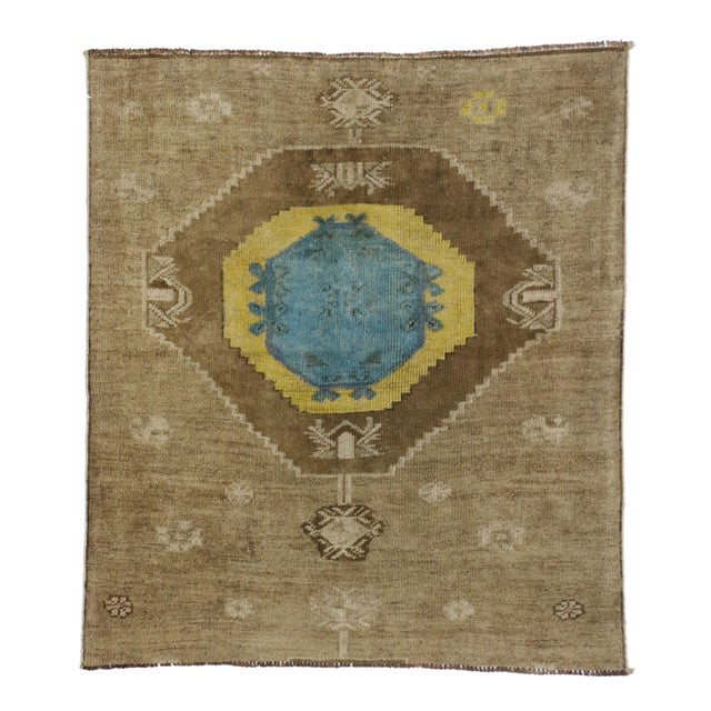 Textile Vintage Turkish Oushak Runner with Modern Contemporary Style, 3'11 x 4'4 For Sale - Image 7 of 7