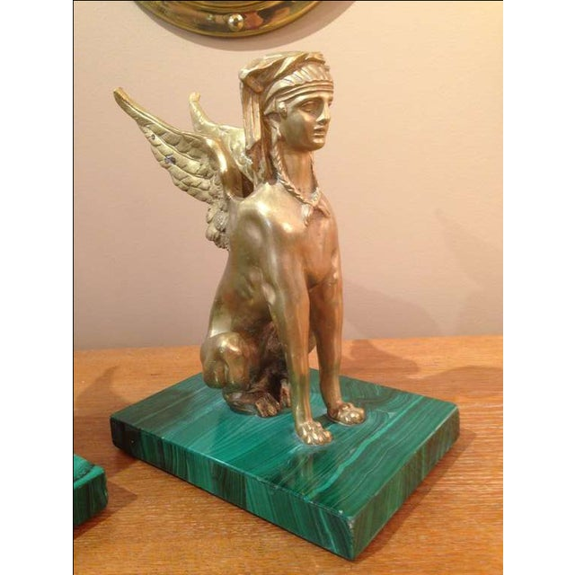 Early 20th Century Pair of Antique Egyptian Sphinx Sculptures For Sale - Image 5 of 7
