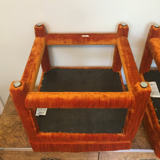 1970s Orange Velvet Console Table With Parsons Style Ottomans, Set of 3 For Sale - Image 9 of 12
