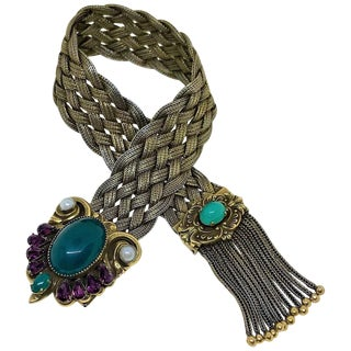 1940s Victorian Revival Goldtone Jeweled Tassel Bracelet For Sale