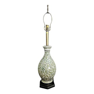 Tall Vintage Marbro Porcelain Scrolled Green Ivy Table Lamp For Sale