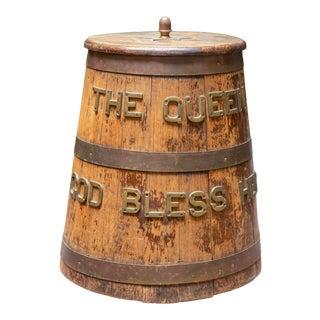 Mid 20th Century Vintage Brass Bound Rum Barrel For Sale
